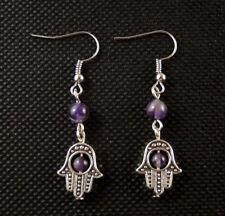 Natural Amethyst Gemstone Hamsa Hand Bohemian Fashion Dangle Earrings # B99
