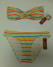 Arizona Removable Strap Neon Bikini Swimsuit Womens Large Multicolor Striped New