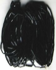 "Shiny Black Glass Vintage Tube Bugle Beads Long 20""Strands Hank 3.5bpi (4002625)"