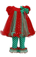 Bonnie Jean Little Girls Holiday Christmas Santa red Outfit Dress 2pc Set 2T-6X