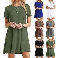Women's Casual Sundress Short Sleeve Loose T-shirt Girls Summer Dress Plus Size