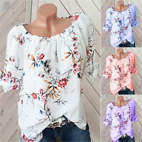 Plus Size Womens Gypsy Long Sleeve Tunic Blouse Tops Casual  Loose T Shirt