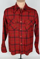 Vintage Tahoe Mens Small Red Plaid Wool/Nylon 2-Pocket Button Up Flannel Shirt