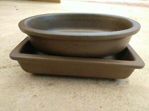 "Vintage Pair lot Japanese Bonsai Brown Ceramic Pots Oval & Rectangle 6 ¾"" x 5"""