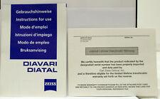 Original OEM ZEISS Diavari Diatal Riflescope User / Owner's Manual - 1998