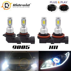 4PCS Combo 9005+H11 White 6000K COB LED Headlight Bulbs 200W High Low Beam Kit