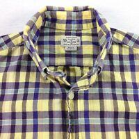 J CREW Madras Shirt Mens Small Thin Lightweight Prep Long Sleeve Purple Yellow