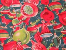 Vintage Novelty Print Christmas Fabric 3 Yards Ornaments Angels Green & Red