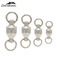 CAMEKOON 20/50/100Pcs Stainless Steel Fishing Rolling Barrel Swivels Connector