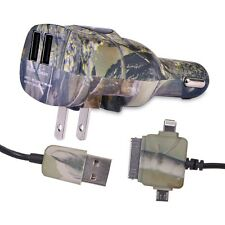 Dual USB to AC/DC Travel Charger Kit w/30-Pin, Lightning & Micro USB Cable -Camo
