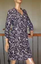 LAUREN RALPH LAUREN SLATE/CREAM RUCHED FAUX WRAP DRESS SIZE 10 NWT MSRP 134$+TAX