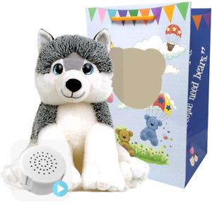 16 inch Husky Dog - Pre-Stuffed Baby Heartbeat Teddy Bear & Voice Recorder