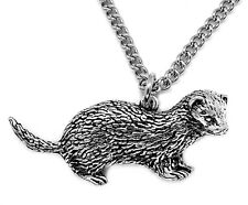 Ferret Pendant with Chain Necklace in Gift Pouch (Silver Pewter, Made in UK)