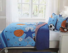 NEW KIDS EXPRESSIONS SPORTS AND ALL STARS 4 PC FULL QUILT SHAMS DECO PILLOW SET