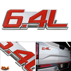 """""""6.4L"""" Polished Metal 3D Decal Red&Silver Emblem For Freightliner/Dodge/Ram"""