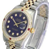 Rolex Mens Datejust 16013 Two-tone Blue   Dial Diamond Ruby  Bezel 36mm Watch