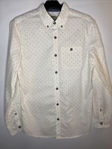 Next Long Sleeve Shirt White With Red Black Dots 100% Cotton Button Details Sz S