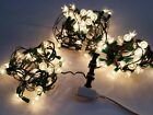 3 Vintage Flower Petal Tulip Reflector Lights 35 Per String Clear White WORKS