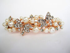 Pearl and crystal gold butterfly hair barrette clip bridal clip bridal barrette
