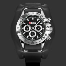 Military Automatic Watch Mechanical Leather Strap Army Black 6 Hands Waterproof