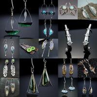 Vintage 925 Silver Turquoise Earrings Pearl Ear Hook Dangle Drop Gift Jewelry