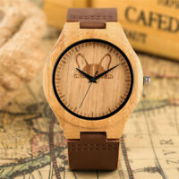 Fashion Wooden Watch Quartz Analog Wristwatch Stylish Design Mens Bamboo Watches