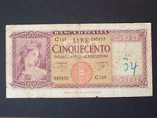 BANCONOTA LIRE 500 ITALIA 23-03-1961 COME DA FOTO