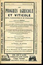 PROGRES AGRICOLE ET VITICOLE.N°34 de1900...ACIDITES DES VINS..VIN ET HYGIENE