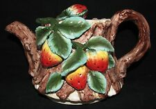 CERAMIC HAND PAINTED 3D RED STRAWBERRY BROWN WOODEN LOOK TEAPOT COFFEE TEA POT