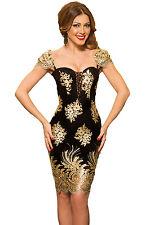 Abito ricamato Merletto Scollo nudo Cerimonia Party Lace Embroidered Dress M
