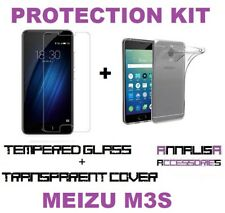 CUSTODIA COVER + PELLICOLA VETRO TEMPERATO MEIZU M3S TPU CASE + TEMPERED GLASS