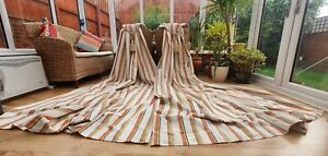 """HUGE PAIR OF  STRIPPED BLACKOUT LINED CURTAINS 110"""" DROP BY 72"""" WIDTH"""
