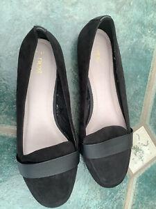 next black suede uk 7 euro 41 ballet shoes slip on