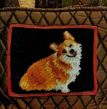 New ListingCorgi Happy Dog Needlepoint Quilted Purse Handmade Many Pockets Expandable