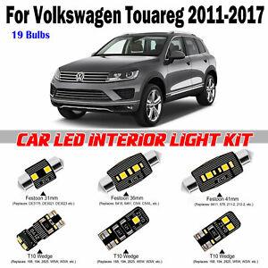 19 Bulbs Deluxe White LED Interior Light Kit For VW Touareg 2011-2017 Error Free