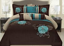 7 Pc Brown Teal and Taupe Embroidered Floral Design Comforter Set