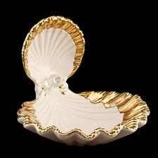 Wunderschöne Keramik Schale Muschel mit großem Swarovski Stein und echtem Gold