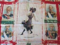 1910 ANTIQUE CIGARETTES ADVERT DECORATIVE SILK CLOTH w/EUROPEAN ROYALTIES RARE!