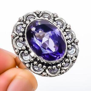 Amethyst- Gemstone 925 Silver Handmade Jewelry Ring s.8 T2730
