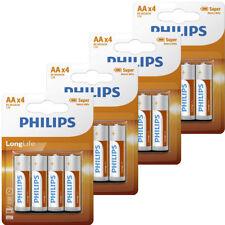 16 x Philips AA Long Life Batteries 1.5V LR06 R06 Heavy Duty Mingon