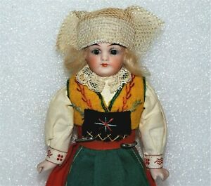 ANTIQUE BISQUE SHOULDER HEAD Glass Eyes Jointed ALL ORIGINAL SWEDISH GIRL DOLL