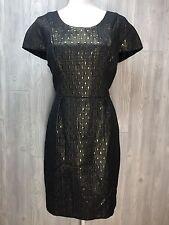 Womens Dress Holiday Gold Christmas Black Wiggle NYE Career Covington NWT 16