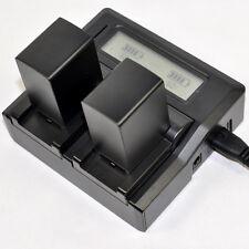 Quick LCD Charger + 2x Battery for Canon BP-827 HF10 HF11 HF20 HF21 HF100 HF200