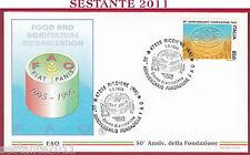 ITALIA FDC FILAGRANO ANNIVERSARIO FONDAZIONE FAO 1995 ANNULLO RICCIONE RN U535