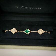 Van Cleef & Arpels Vintage Alhambra Bracelet, Yellow gold, Diamond, Malachite