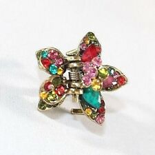 Brand New Gold Tone Vintage Vibrant Flower Hair Clip Claw w/Multi Color Crystals