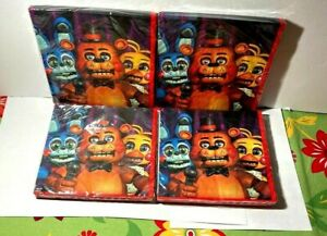 Lot of 4 16ct. Five Nights at Freddy's Napkins Birthday Party Supplies Halloween