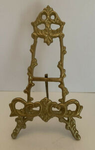 """Vintage Solid Brass Easel Stand Plate Photo Frame Display ART NOUVEAU 7""""-India"""
