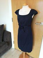 Ladies LAURA ASHLEY Dress Size 10 Navy Pencil Smart Office Work