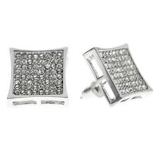 HUGE 15mm Mens Kite Hip Hop Earrings Iced-out Silver Tone Big 8 Row Large